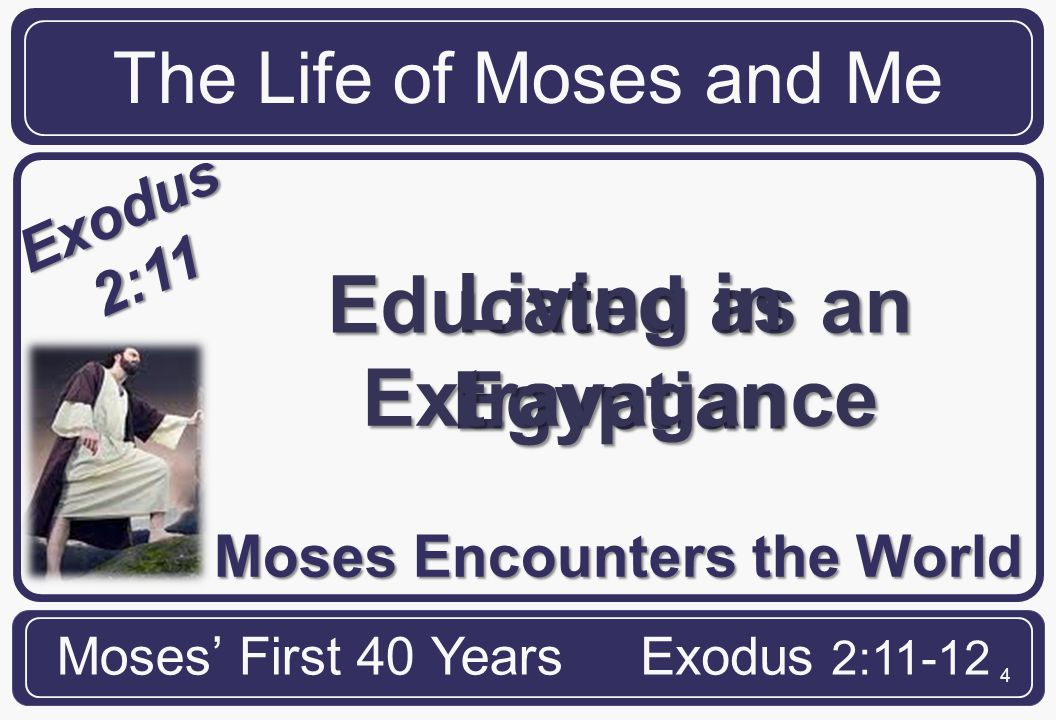 15 The Life of Moses and Me Moses' First 40 YearsExodus 2:11-12 ME In training for an unknown but divinely appointed destiny Because God has placed them there This is where He wants to use you
