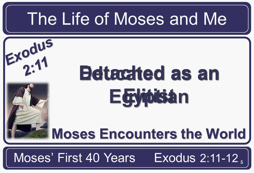 16 The Life of Moses and Me Moses' First 40 YearsExodus 2:11-12 ME Satan often tempts us with spiritual burdens When we respond to burdens in our flesh, and not by God's will, we stifle our ministry effectiveness.