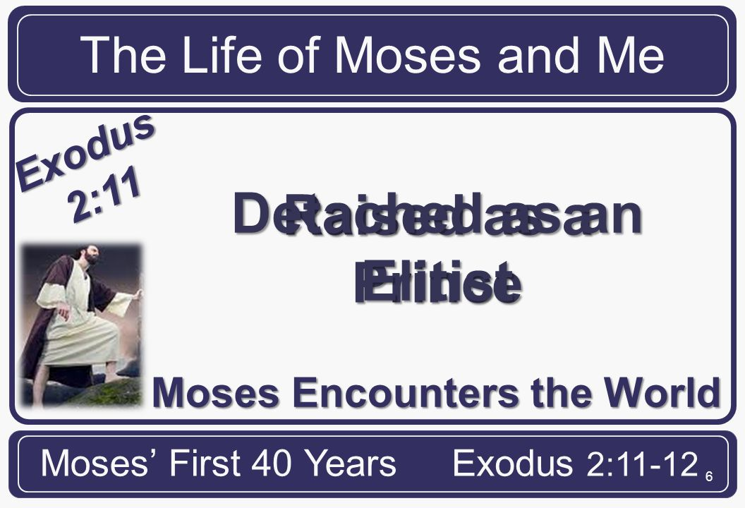 17 The Life of Moses and Me Moses' First 40 YearsExodus 2:11-12 ME Satan often tempts us with spiritual burdens When we respond to burdens in our flesh, and not by God's will, we stifle our ministry effectiveness.