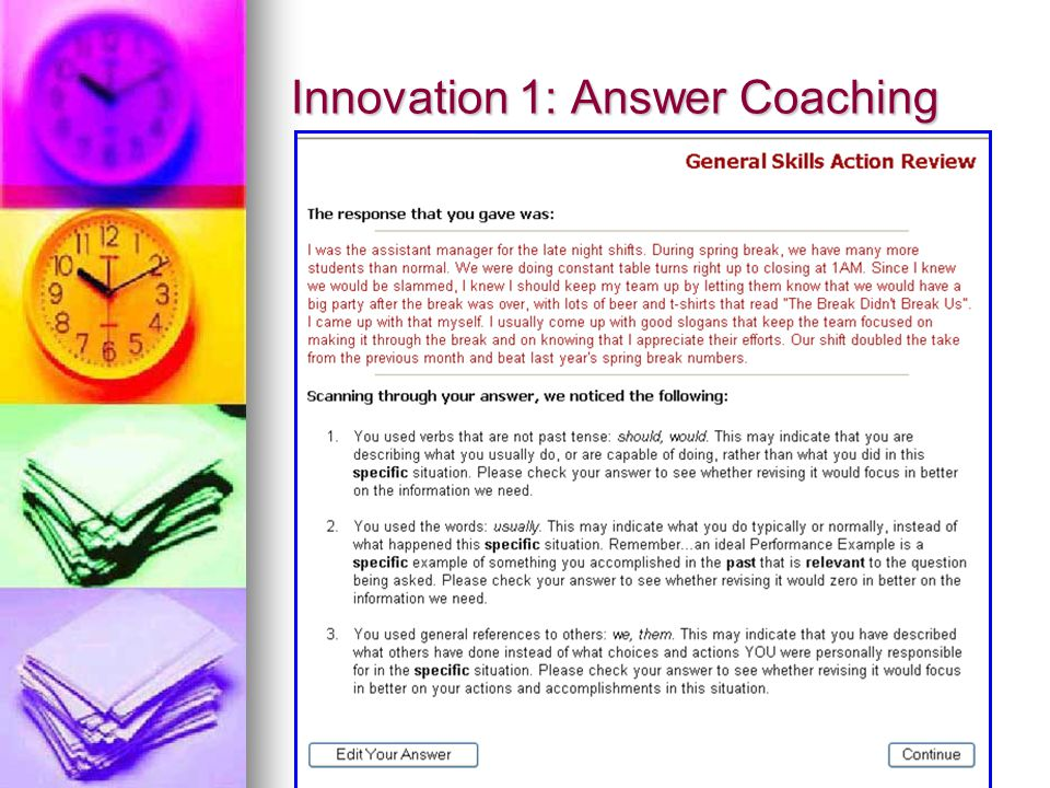 Innovation 1: Answer Coaching