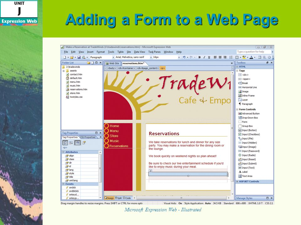 Adding a Form to a Web Page Microsoft Expression Web - Illustrated