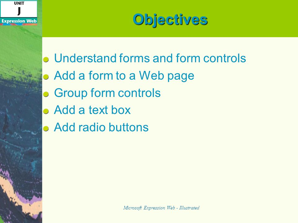 Objectives Add checkboxes Add a drop-down box Add a text area Add buttons Microsoft Expression Web - Illustrated