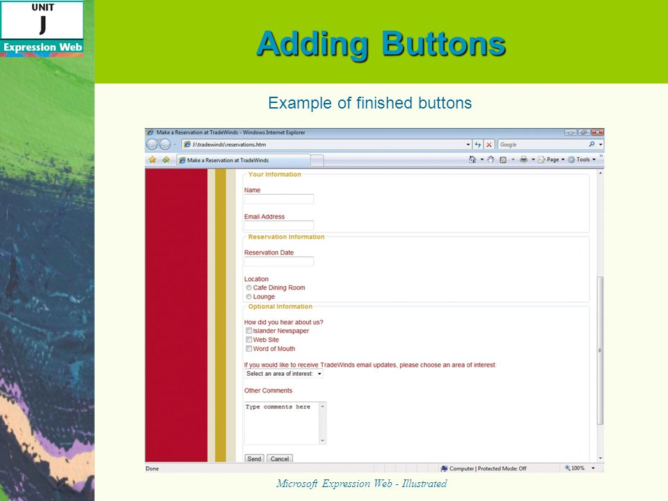 Adding Buttons Microsoft Expression Web - Illustrated Example of finished buttons