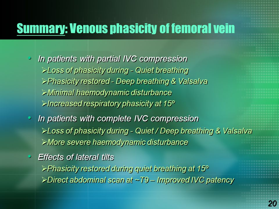 Summary: Venous phasicity of femoral vein In patients with partial IVC compression  Loss of phasicity during - Quiet breathing  Phasicity restored -