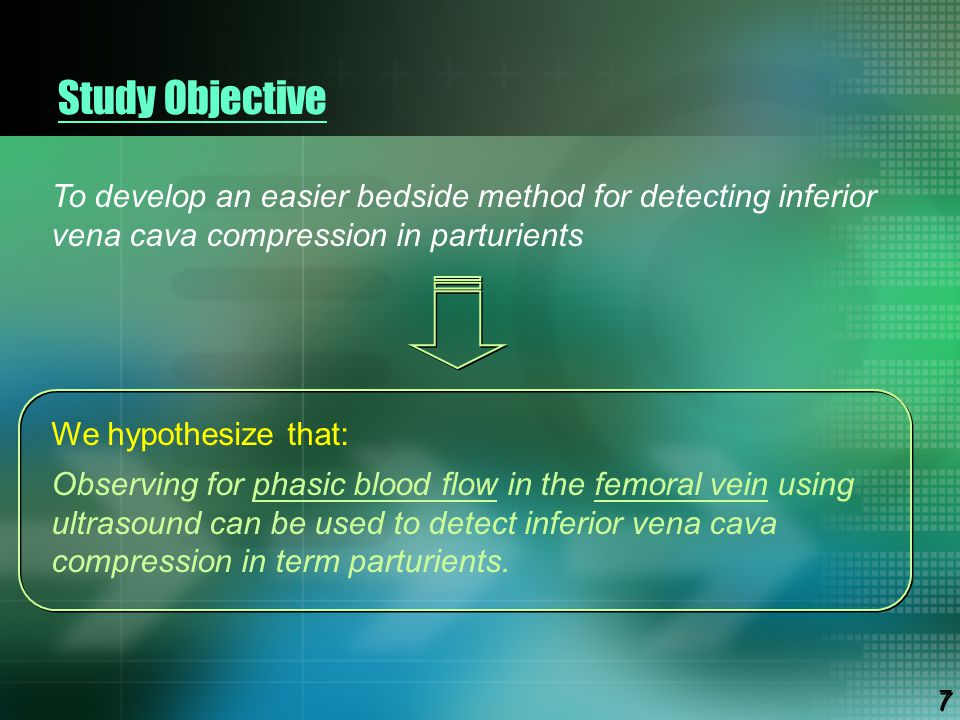 Study Objective To develop an easier bedside method for detecting inferior vena cava compression in parturients We hypothesize that: Observing for pha