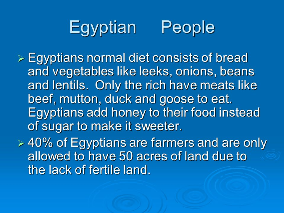 Egyptian People  Egyptians normal diet consists of bread and vegetables like leeks, onions, beans and lentils.