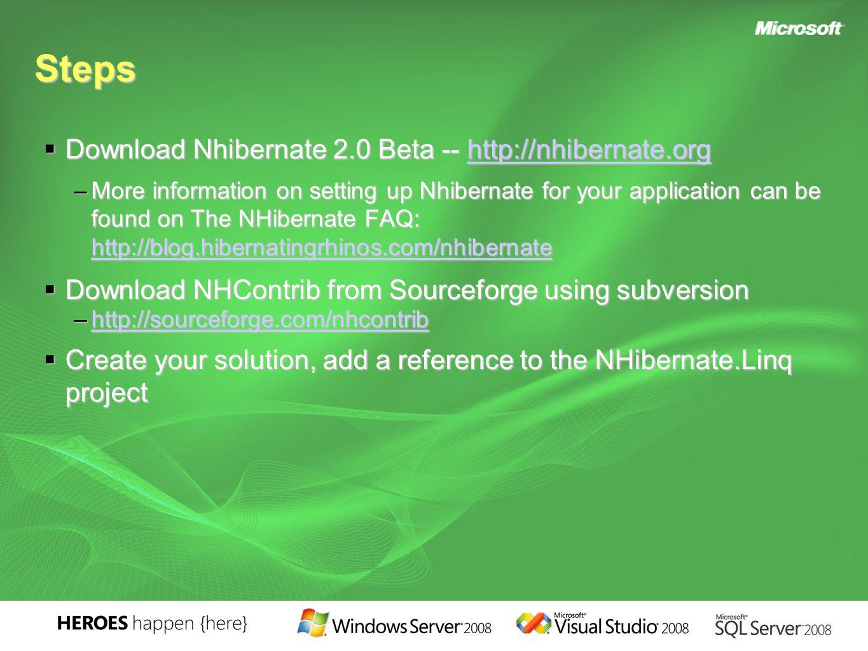 Steps  Download Nhibernate 2.0 Beta -- http://nhibernate.org http://nhibernate.org –More information on setting up Nhibernate for your application ca