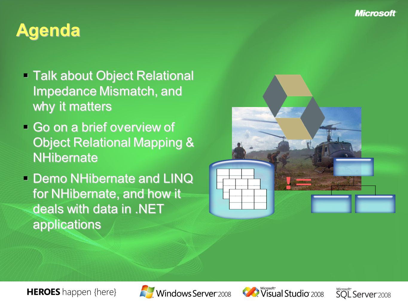 Agenda  Talk about Object Relational Impedance Mismatch, and why it matters  Go on a brief overview of Object Relational Mapping & NHibernate  Demo