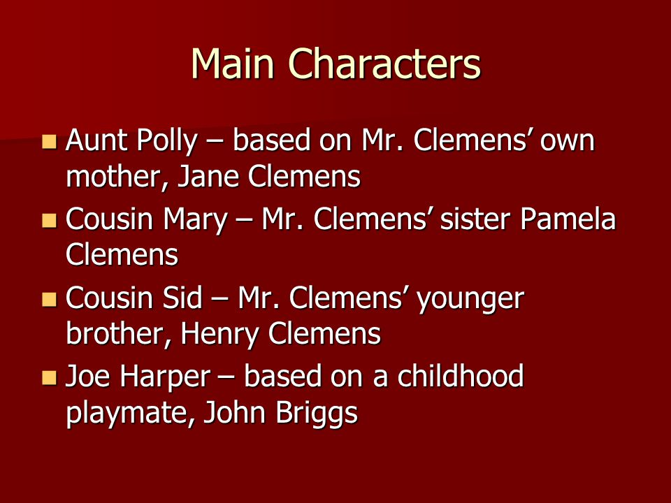 Main Characters Aunt Polly – based on Mr.