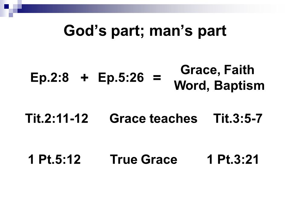 God's part; man's part Ep.2:8Ep.5:26 += Grace, Faith Word, Baptism Tit.2:11-12Grace teachesTit.3:5-7 1 Pt.5:12True Grace1 Pt.3:21