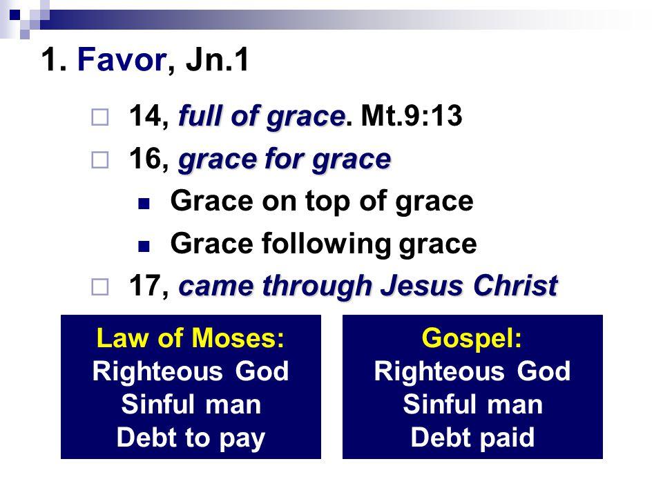 1.Favor, Jn.1 2. Foundation, Ac.20:24 3. Freedom, Ro.6:15, 22 4.