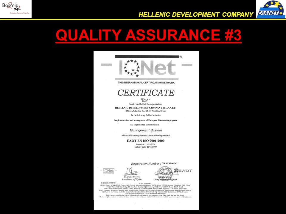 QUALITY ASSURANCE #3 HELLENIC DEVELOPMENT COMPANY