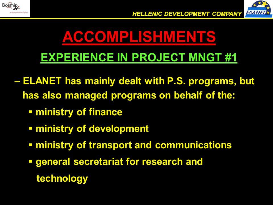 – ELANET has mainly dealt with P.S.