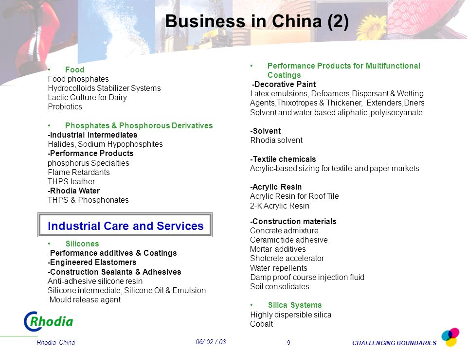 06/ 02 / 03 CHALLENGING BOUNDARIES Rhodia China 9 Food Food phosphates Hydrocolloids Stabilizer Systems Lactic Culture for Dairy Probiotics Phosphates & Phosphorous Derivatives -Industrial Intermediates Halides, Sodium Hypophosphites -Performance Products phosphorus Specialties Flame Retardants THPS leather -Rhodia Water THPS & Phosphonates Industrial Care and Services Silicones -Performance additives & Coatings -Engineered Elastomers -Construction Sealants & Adhesives Anti-adhesive silicone resin Silicone intermediate, Silicone Oil & Emulsion Mould release agent Performance Products for Multifunctional Coatings -Decorative Paint Latex emulsions, Defoamers,Dispersant & Wetting Agents,Thixotropes & Thickener, Extenders,Driers Solvent and water based aliphatic,polyisocyanate -Solvent Rhodia solvent -Textile chemicals Acrylic-based sizing for textile and paper markets -Acrylic Resin Acrylic Resin for Roof Tile 2-K Acrylic Resin -Construction materials Concrete admixture Ceramic tide adhesive Mortar additives Shotcrete accelerator Water repellents Damp proof course injection fluid Soil consolidates Silica Systems Highly dispersible silica Cobalt Business in China (2)