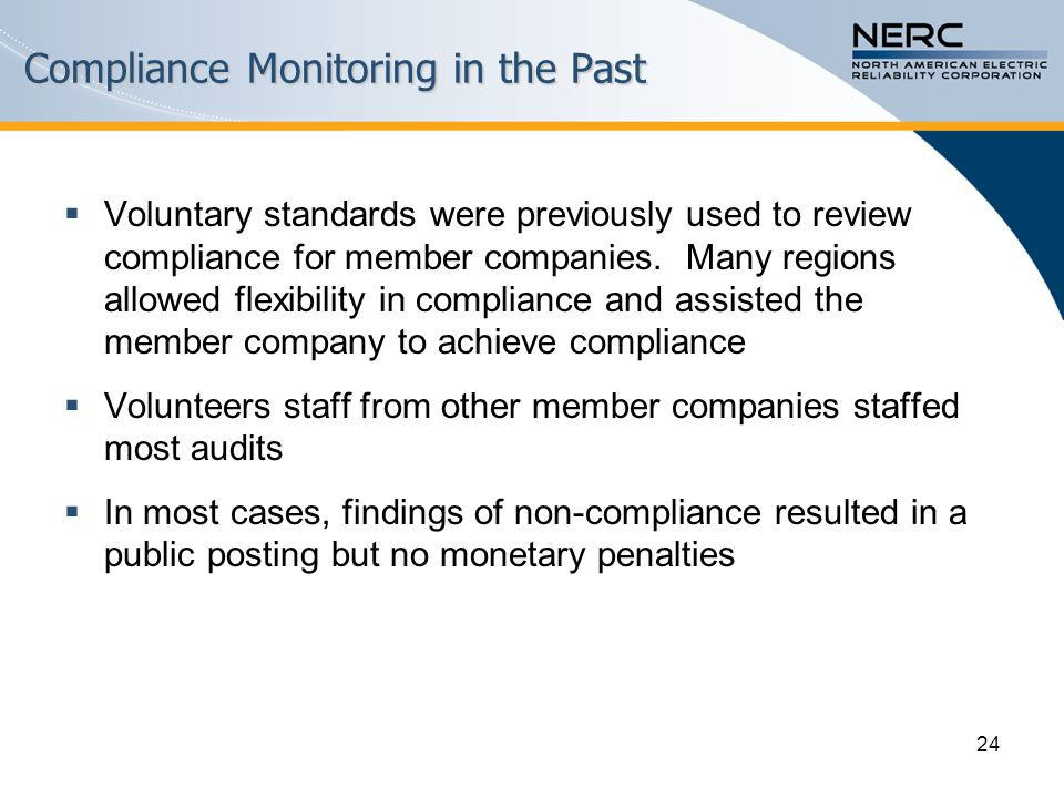 24 Compliance Monitoring in the Past  Voluntary standards were previously used to review compliance for member companies.