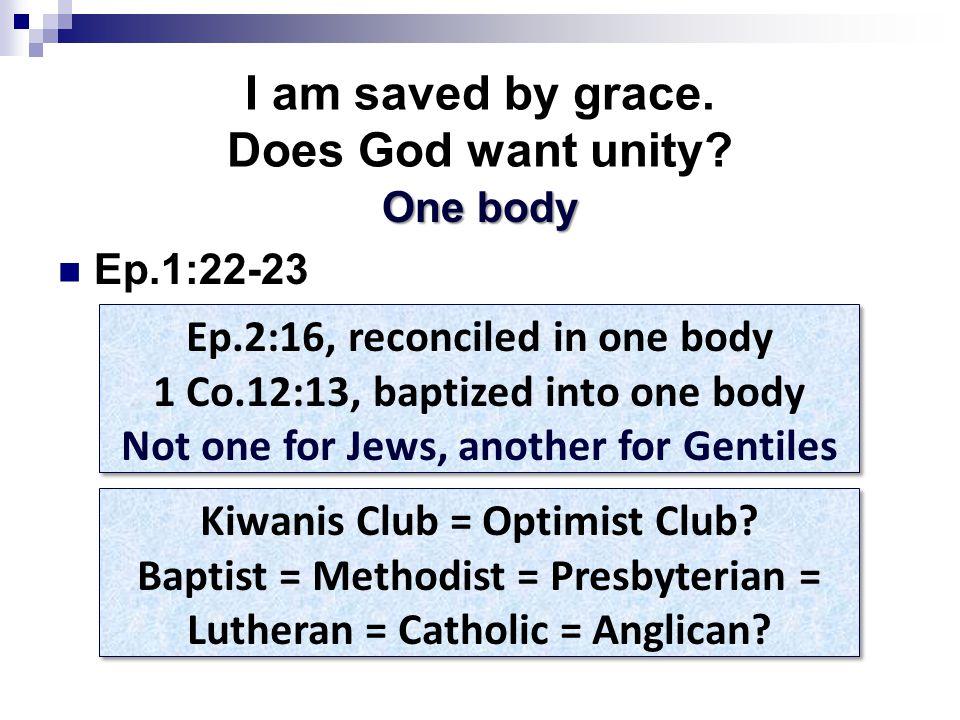 I am saved by grace. Does God want unity.