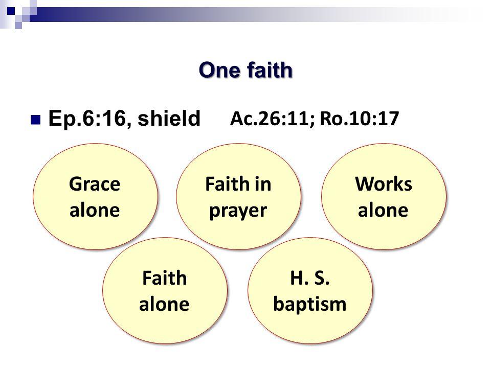 One faith Ep.6:16, shield Grace alone Grace alone Faith alone Faith alone Faith in prayer Faith in prayer H.
