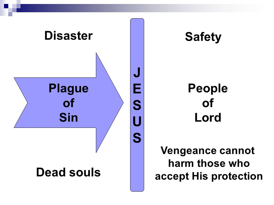 JESUSJESUS Plague of Sin Dead souls People of Lord Vengeance cannot harm those who accept His protection Disaster Safety