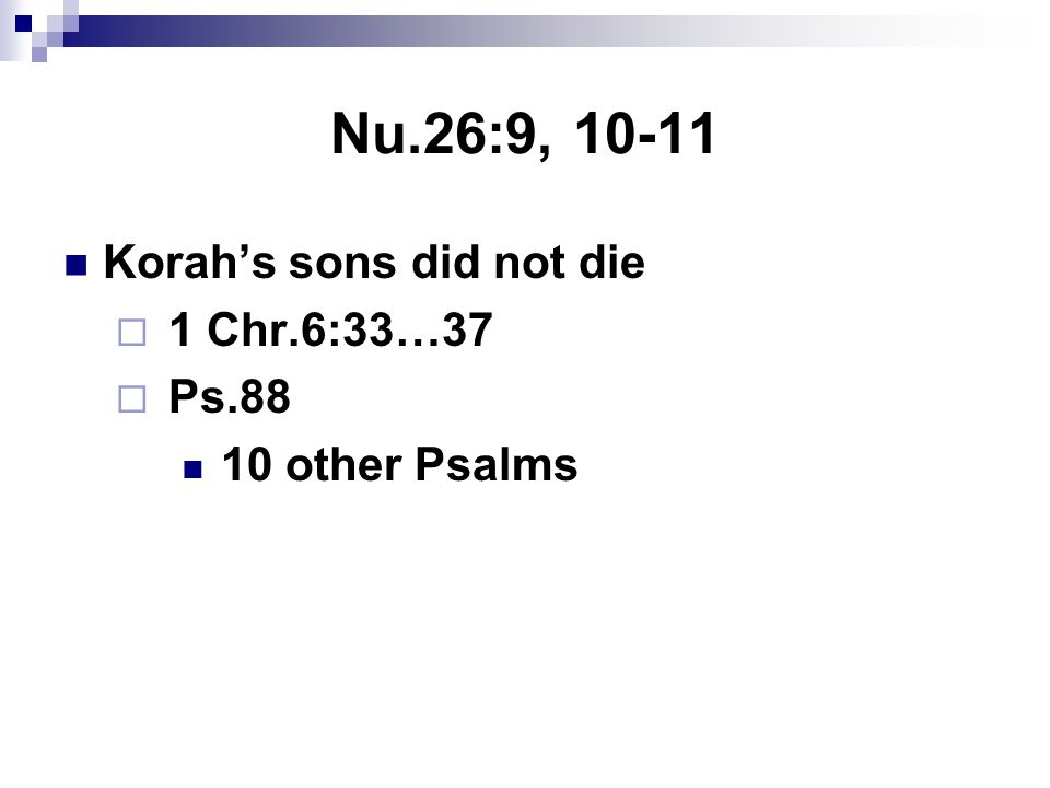 Nu.26:9, 10-11 Korah's sons did not die  1 Chr.6:33…37  Ps.88 10 other Psalms