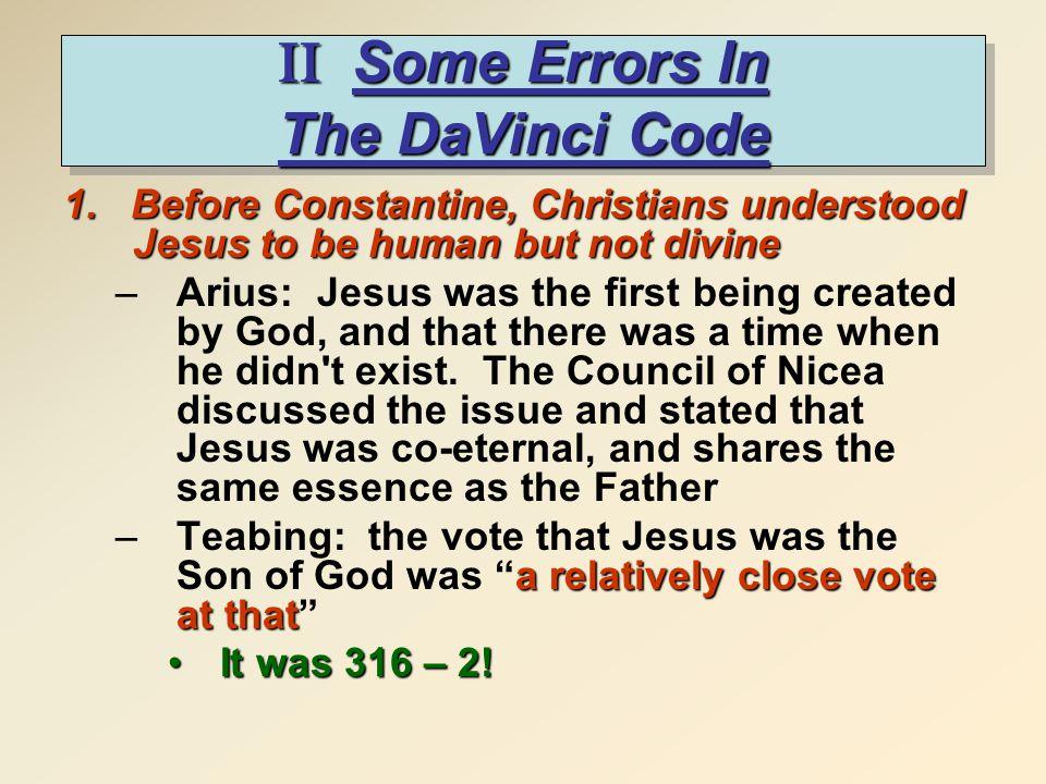 II Some Errors In The DaVinci Code 1.