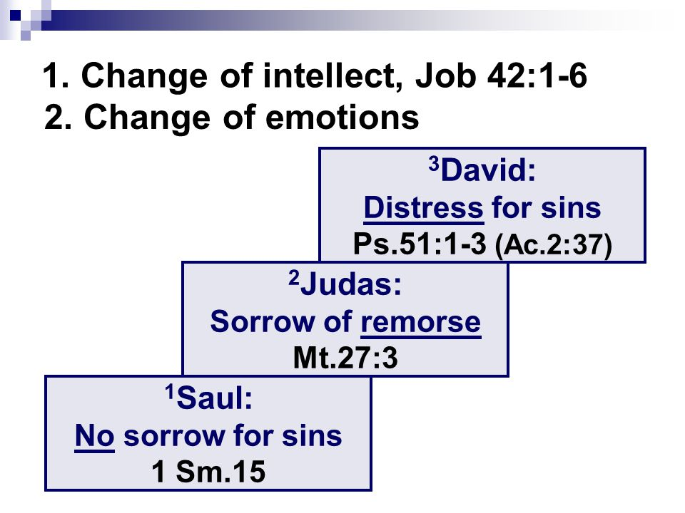 1. Change of intellect, Job 42:1-6 2. Change of emotions 1 Saul: No sorrow for sins 1 Sm.15 2 Judas: Sorrow of remorse Mt.27:3 3 David: Distress for s