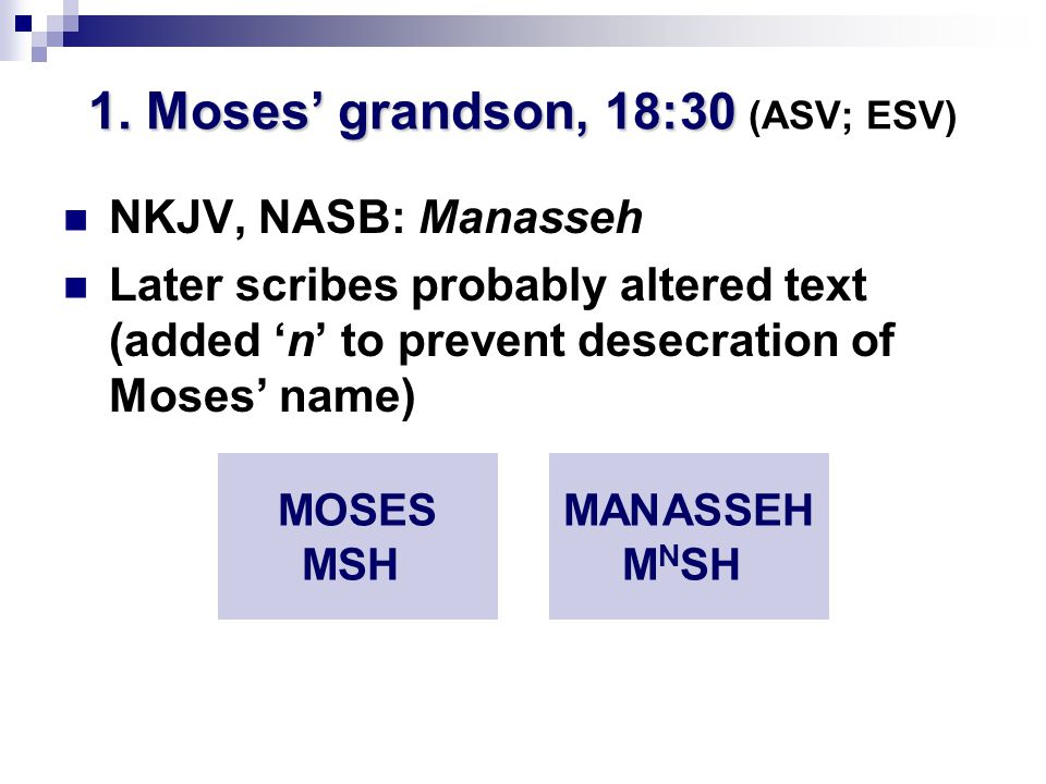 1. Moses' grandson, 18:30 1.