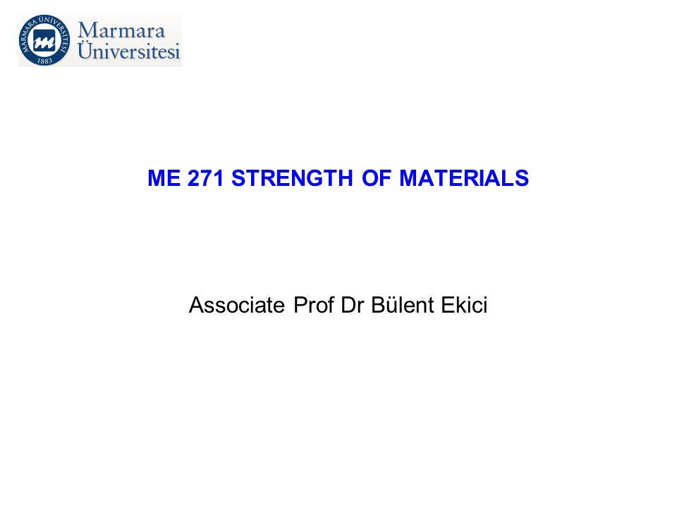 ME 271 STRENGTH OF MATERIALS Associate Prof Dr Bülent Ekici