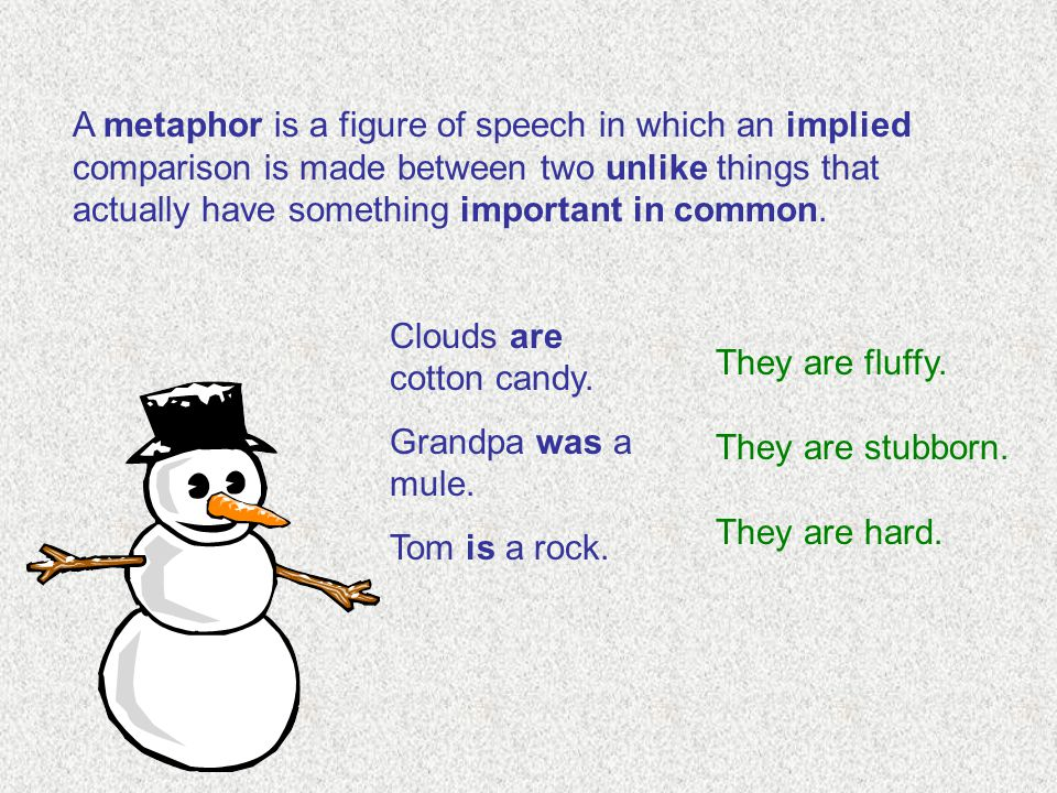 A metaphor is a figure of speech in which an implied comparison is made between two unlike things that actually have something important in common. Cl