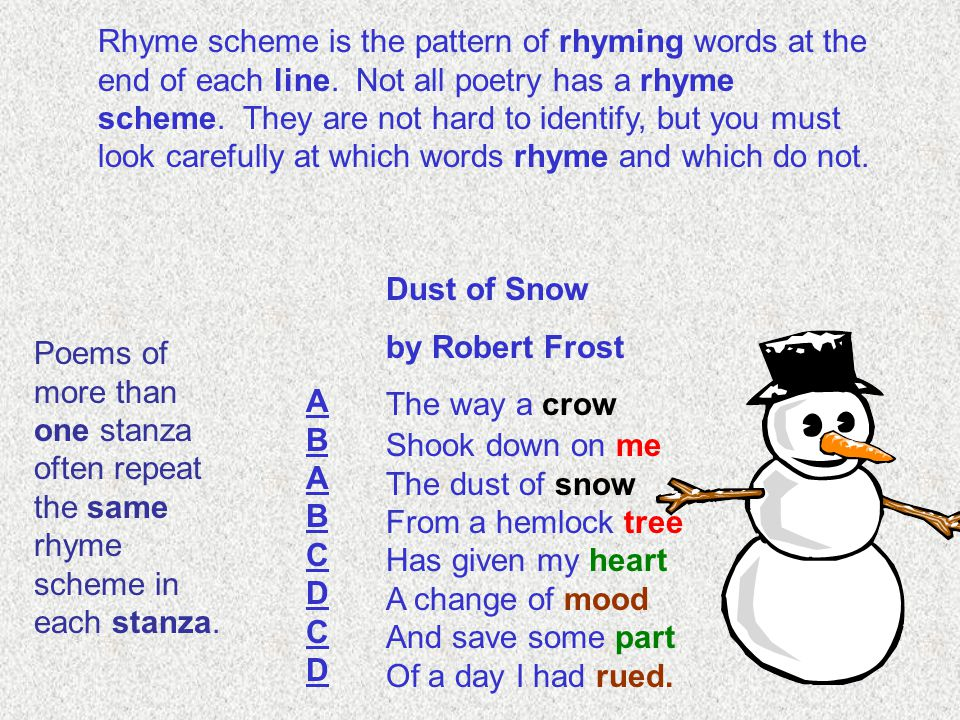 Rhyme scheme is the pattern of rhyming words at the end of each line. Not all poetry has a rhyme scheme. They are not hard to identify, but you must l