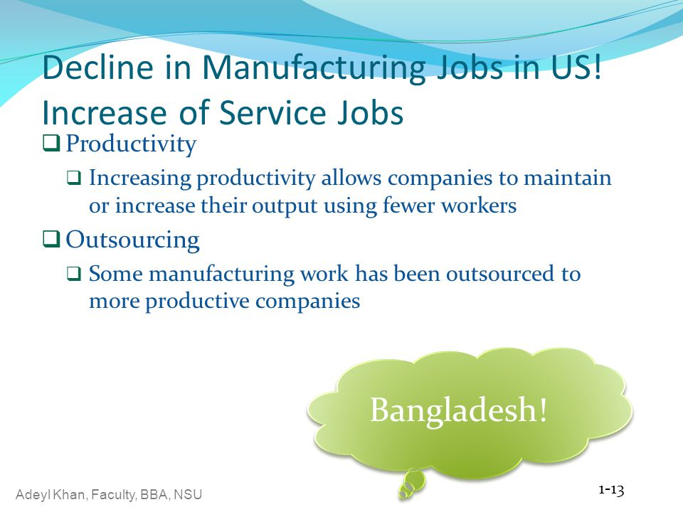Adeyl Khan, Faculty, BBA, NSU Decline in Manufacturing Jobs in US! Increase of Service Jobs  Productivity  Increasing productivity allows companies