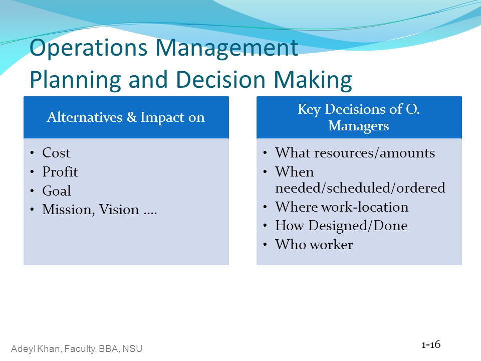 Adeyl Khan, Faculty, BBA, NSU Operations Management Planning and Decision Making Alternatives & Impact on Cost Profit Goal Mission, Vision …. Key Deci
