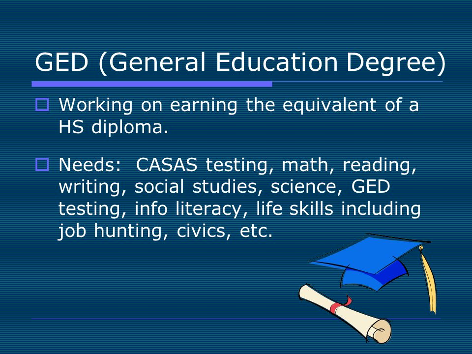 GED (General Education Degree)  Working on earning the equivalent of a HS diploma.