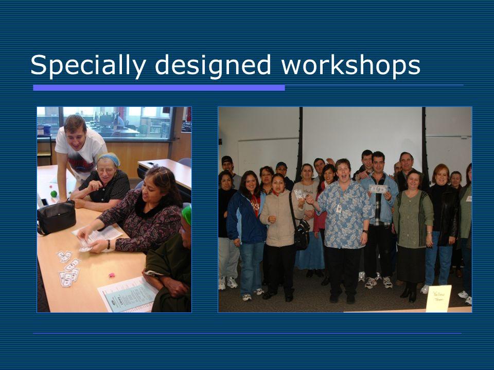 Specially designed workshops