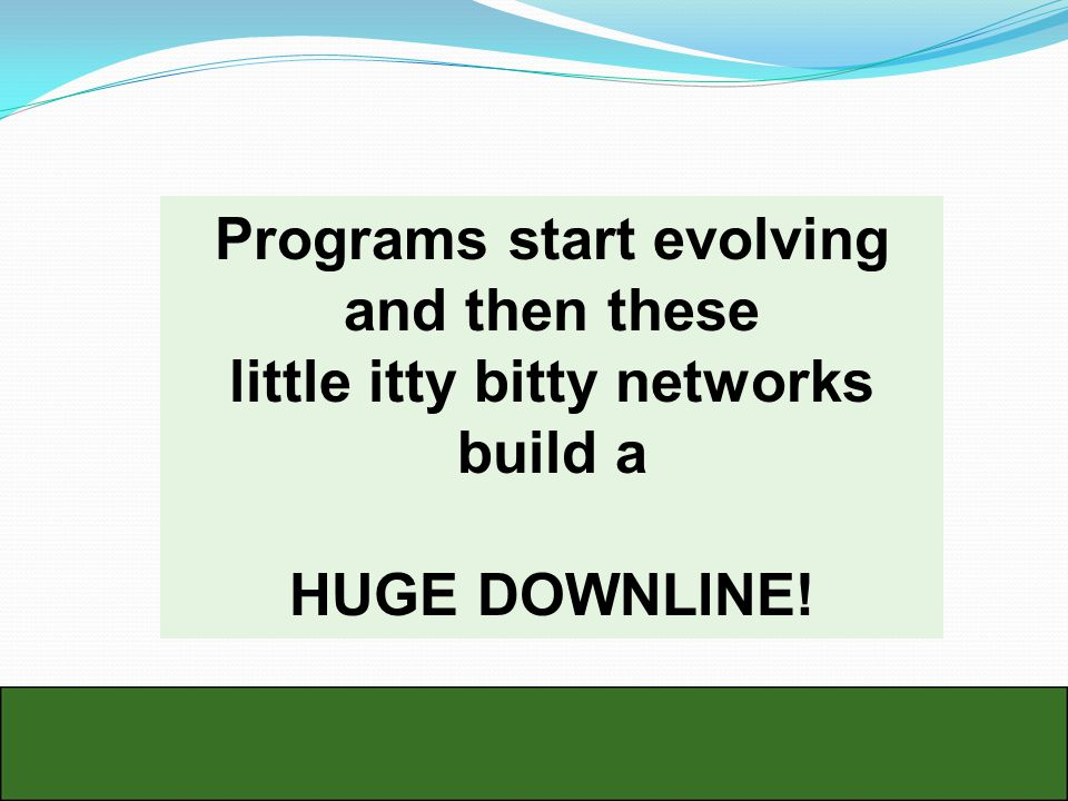 Programs start evolving and then these little itty bitty networks build a HUGE DOWNLINE!