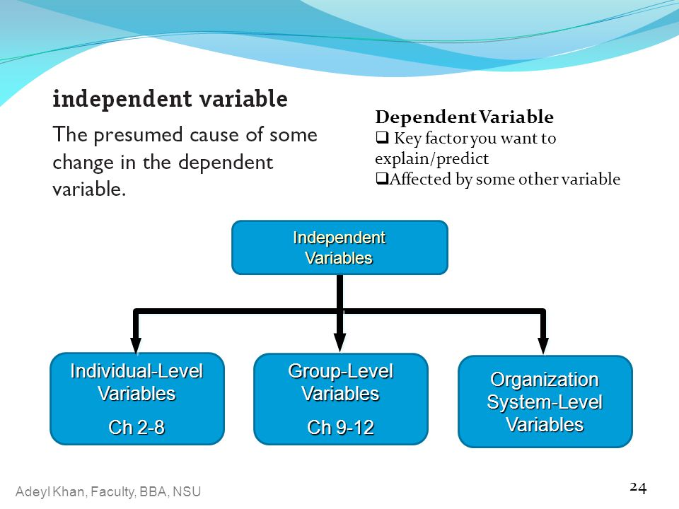 Adeyl Khan, Faculty, BBA, NSU 24 Independent Variables Individual-Level Variables Ch 2-8 Organization System-Level Variables Group-Level Variables Ch