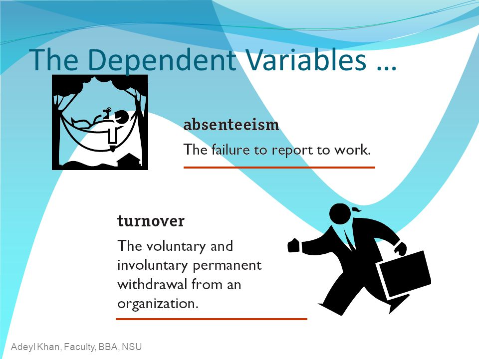 Adeyl Khan, Faculty, BBA, NSU The Dependent Variables …