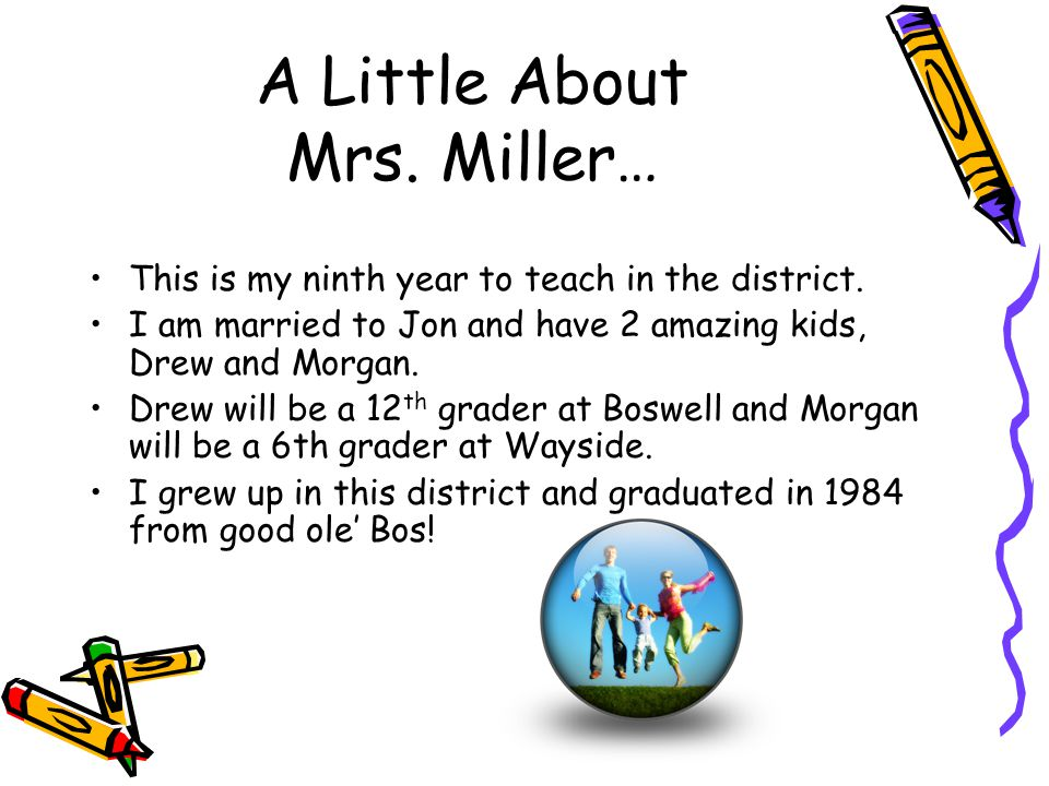 A Little About Mrs. Miller… This is my ninth year to teach in the district.