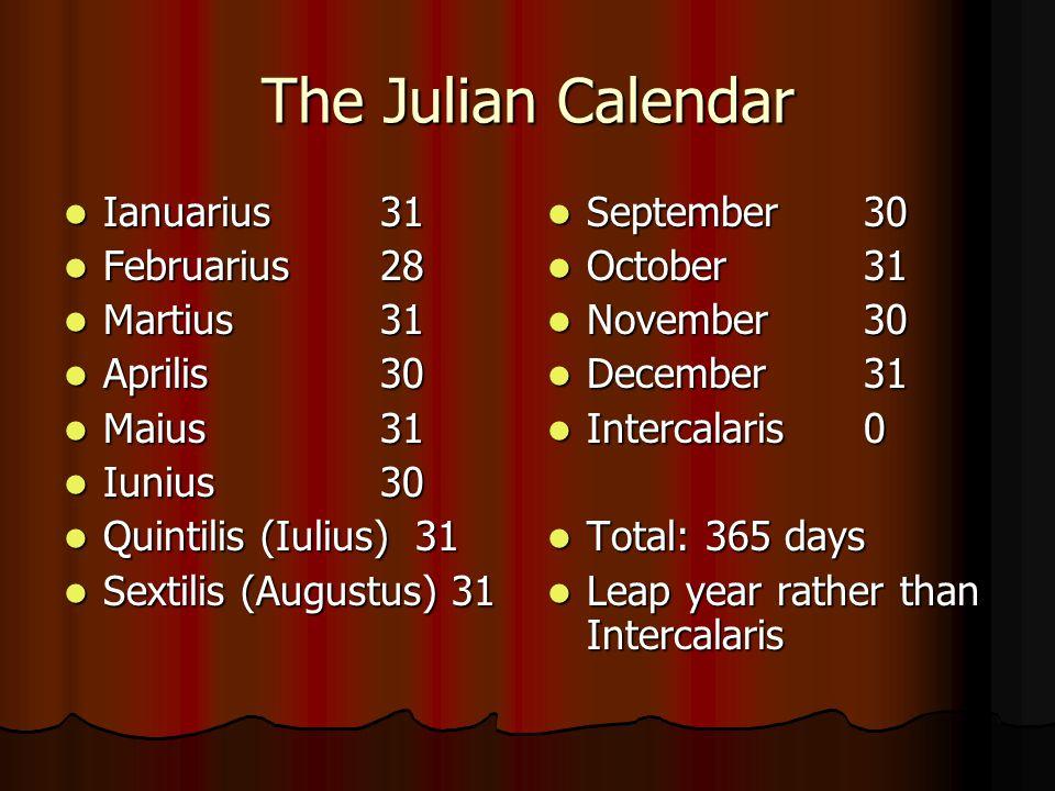The Julian Calendar Ianuarius31 Ianuarius31 Februarius28 Februarius28 Martius31 Martius31 Aprilis30 Aprilis30 Maius31 Maius31 Iunius30 Iunius30 Quinti