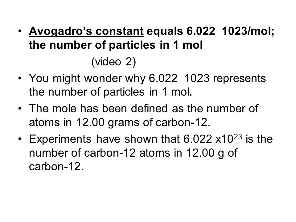 One mole of carbon consists of 6.022 x10 23 carbon atoms, with an average atomic mass of 12.01 amu.