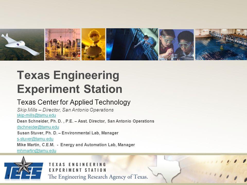 1 Texas Engineering Experiment Station Texas Center for Applied Technology Skip Mills – Director, San Antonio Operations skip-mills@tamu.edu skip-mill