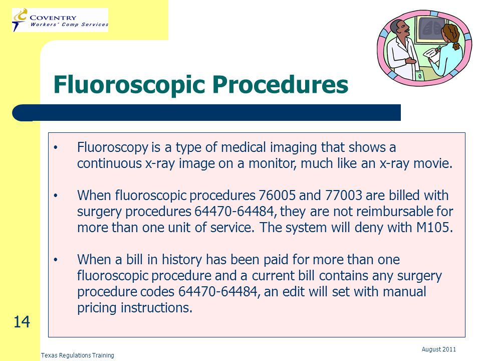 Texas Regulations Training August 2011 14 Fluoroscopic Procedures Fluoroscopy is a type of medical imaging that shows a continuous x-ray image on a monitor, much like an x-ray movie.