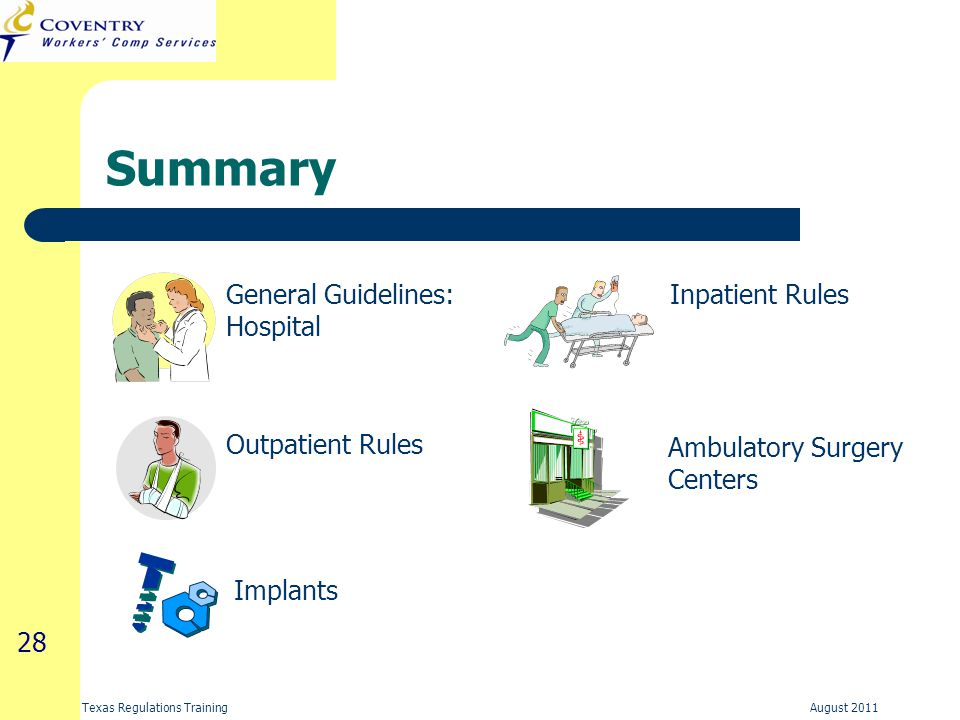 28 Texas Regulations Training August 2011 Summary General Guidelines: Hospital Outpatient Rules Inpatient Rules Ambulatory Surgery Centers Implants