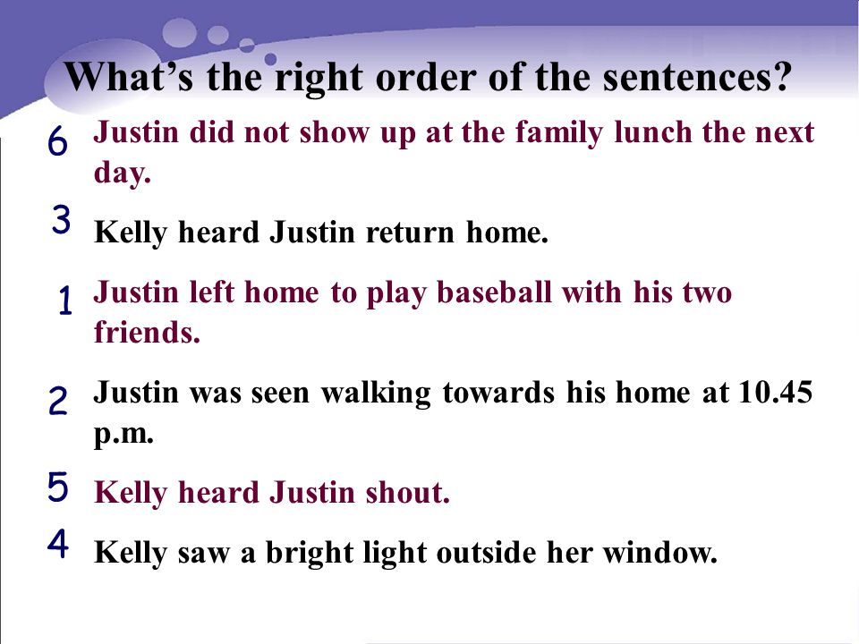 What's the right order of the sentences. Justin did not show up at the family lunch the next day.