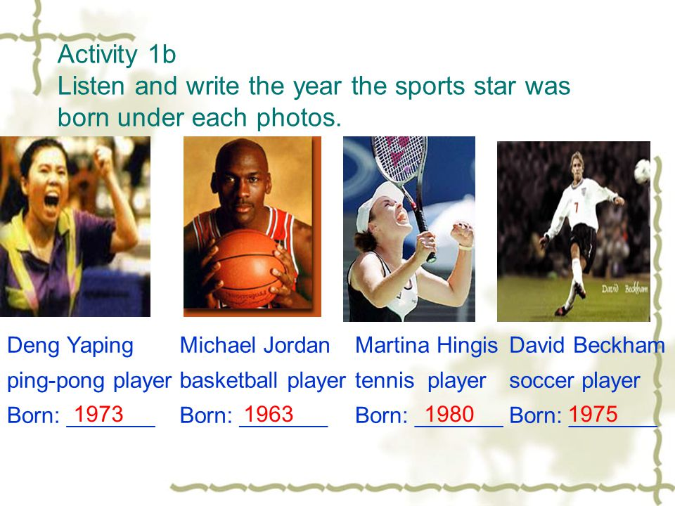Activity 1b Listen and write the year the sports star was born under each photos.