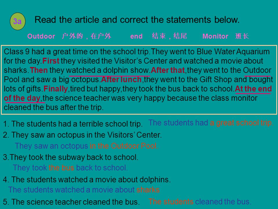 3a Read the article and correct the statements below.