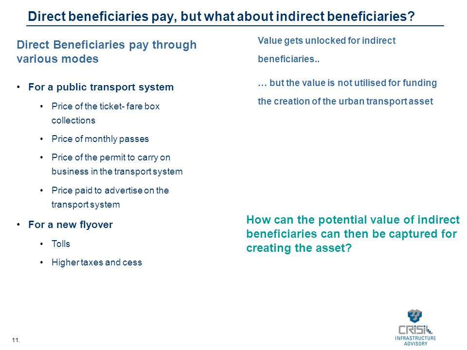 11. Direct beneficiaries pay, but what about indirect beneficiaries? Direct Beneficiaries pay through various modes For a public transport system Pric