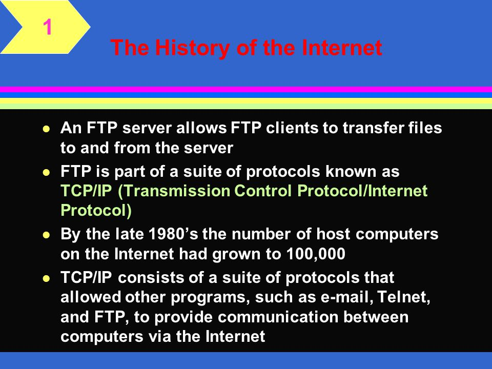 IP Address l For example, the IP address 127.0.0.1 is not assigned to any computer on the Internet; it is known as the localhost, and is used to route packets to the local computer l A static IP address is purchased or leased from a large ISP l Because a finite number of IP addresses are available, the IP protocol is being upgraded to a newer version (version 6.0) that can support many more IP addresses 1
