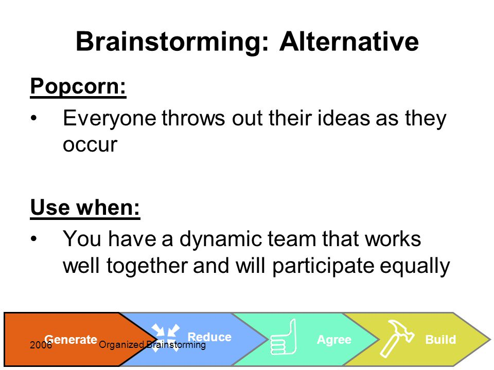 Cheryl Rice: cheryl_rice@shaw.ca AgreeBuild Reduce Generate 2006 Organized Brainstorming Brainstorming: Alternative Popcorn: Everyone throws out their ideas as they occur Use when: You have a dynamic team that works well together and will participate equally