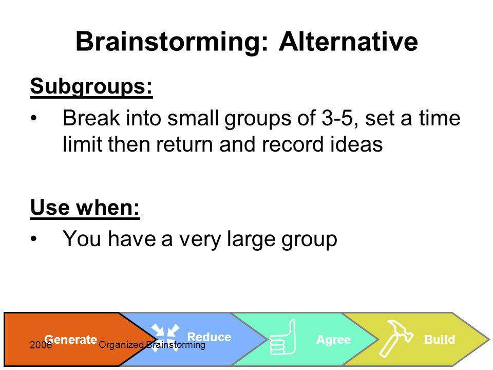 Cheryl Rice: cheryl_rice@shaw.ca AgreeBuild Reduce Generate 2006 Organized Brainstorming Brainstorming: Alternative Subgroups: Break into small groups of 3-5, set a time limit then return and record ideas Use when: You have a very large group