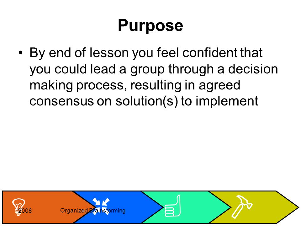 Cheryl Rice: cheryl_rice@shaw.ca Agree Reduce Generate 2006 Organized Brainstorming Purpose By end of lesson you feel confident that you could lead a group through a decision making process, resulting in agreed consensus on solution(s) to implement